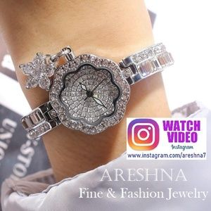 Silver Luxury Swarovski Crystals Quartz Watch